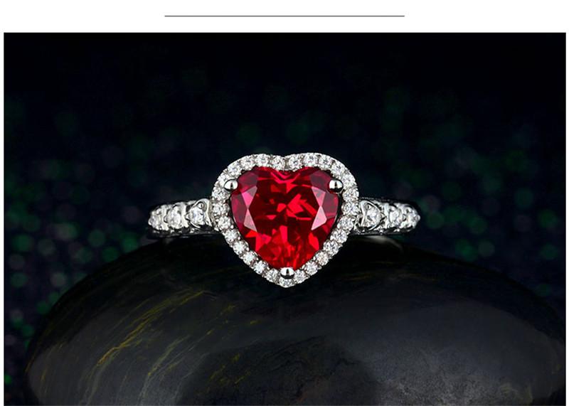 HTB1C5V4hcLJ8KJjy0Fnq6AFDpXaz Red Ruby Heart Shape Gemstone Sterling 925 Silver Wedding Rings For Women Bridal Fine Jewelry Engagement Bague Accessories