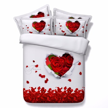 romantique rouge roses et message d amour 3d lit ensemble