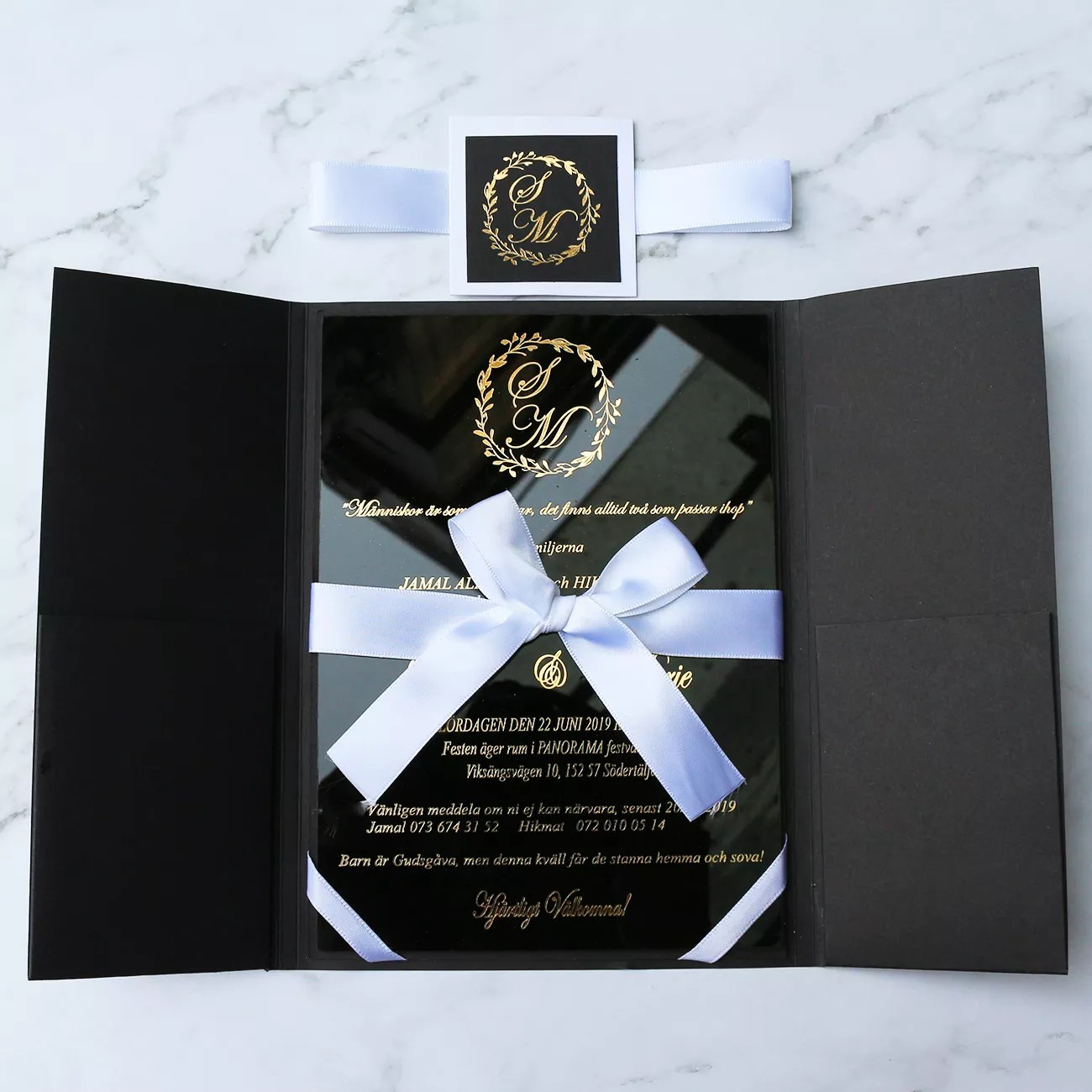unique hard cover folder black acrylic wedding invitation card suit with ribbon bow buy invitation card wedding invitation card acrylic wedding