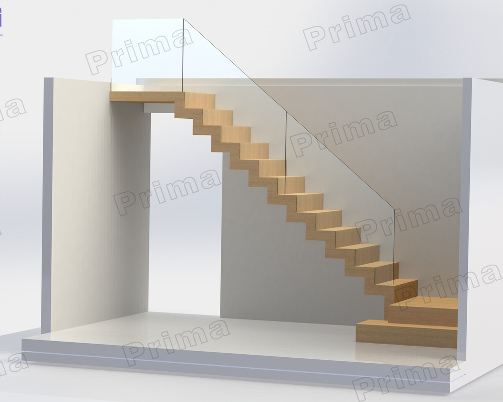Indoor Wooden Design L Shaped Stairs With Stainless Steel | L Shape Stair Design