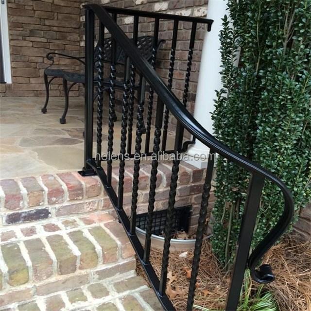Nolens Outdoor Black Metal Stair Railing Wrought Iron Stairs Buy | Black Metal Stair Railing | Minimalist Simple Stair | Craftsman Style | Brushed Nickel | Rustic | Horizontal