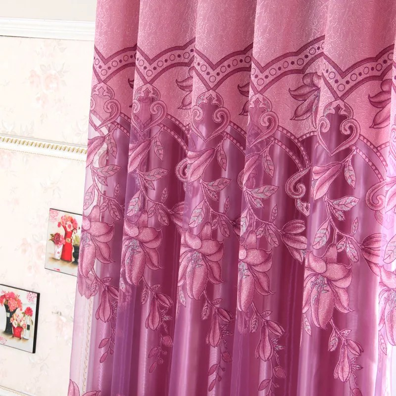 romantic indian style floral jacquard damask window treatment drapes sheer tulle curtains panels for living room bedroom buy cheap curtains and