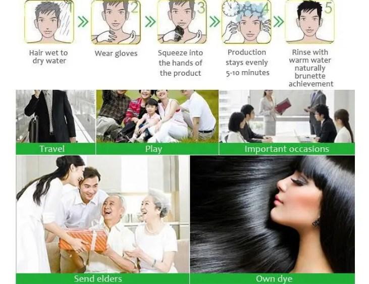 Lichen Brand Black Hair Color Shampoo Hair Color Change dye Shampoo