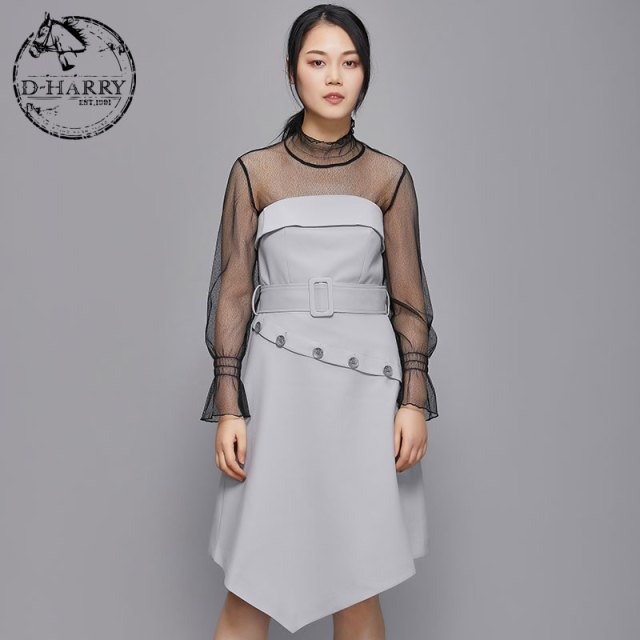 D-HARRY2019 spring ladies irregular dress Slim fashion skirt