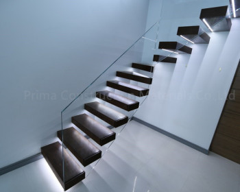 Glass Railing Wood Steps Bench Curved Floating Stairs