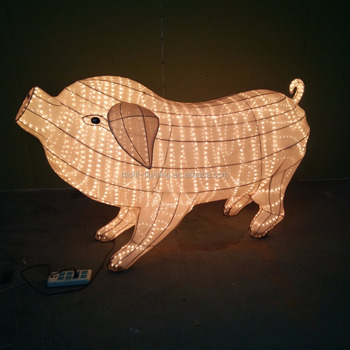 Big Zodiac Animal Pig Rope Light Xmas New Year Party Outdoor Decoration Ce Rohs Saa