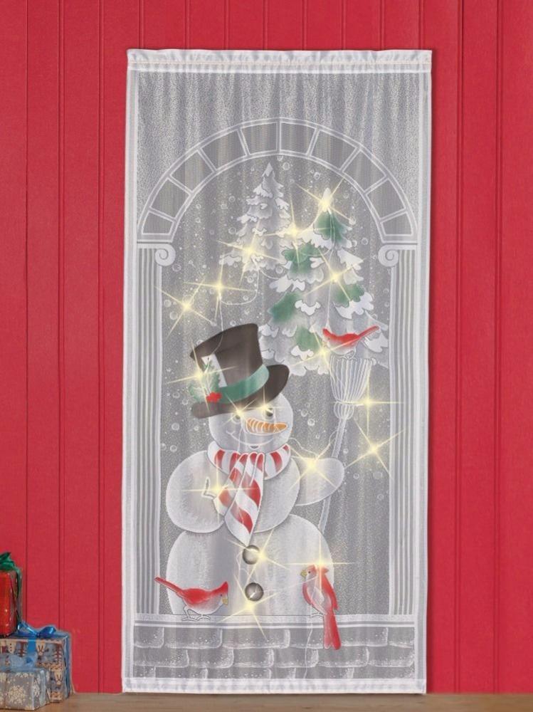 decoratif led bonhomme de neige de noel eclaire dentelle fenetre rideau voilage maison de vacances accent decor 40x84inch avec 17 lumieres buy