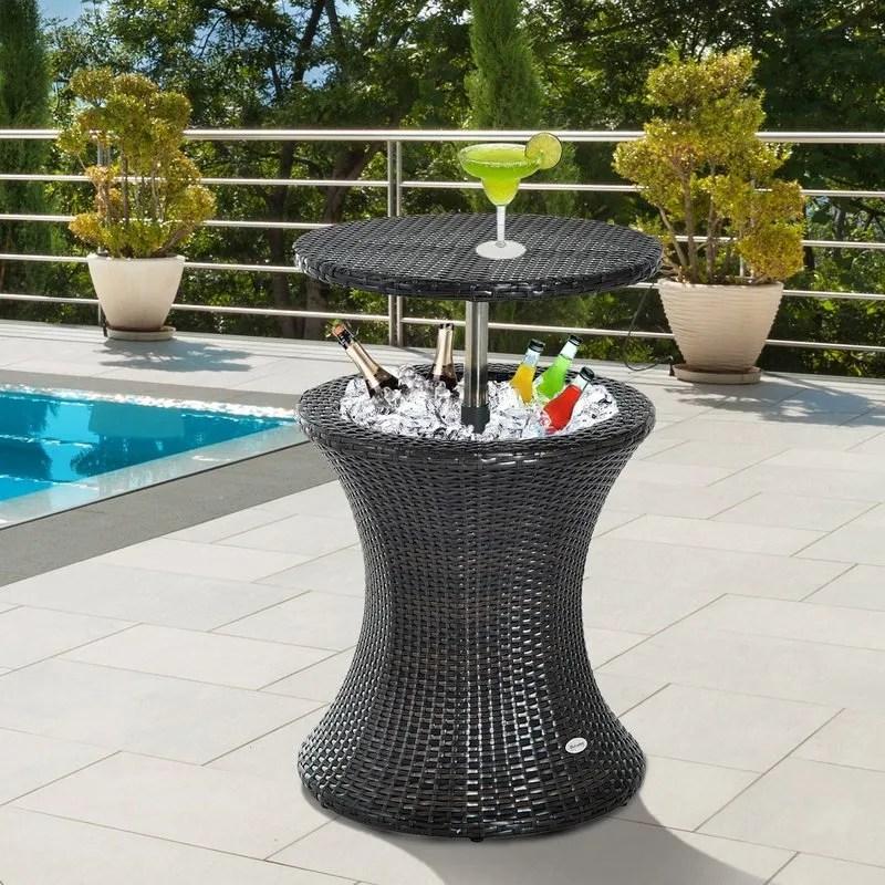 patio luxury cooler cool box drink storage outdoor garden ratan ice box side table buy cooler ice bucket table ice bucket double wall ice bucket