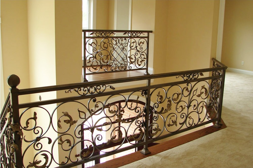 Cheap Modern Decorative Indoor Wrought Iron Staircase Railing | Wrought Iron And Wood Stair Railing | Decorative | Iron Rail | Stairway | Wood Cap | Hand