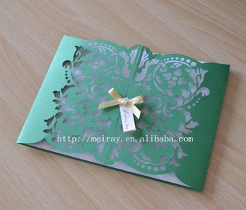 Paper Card Craft Gate Invitations For Party Green Wedding Invitation Le Pink