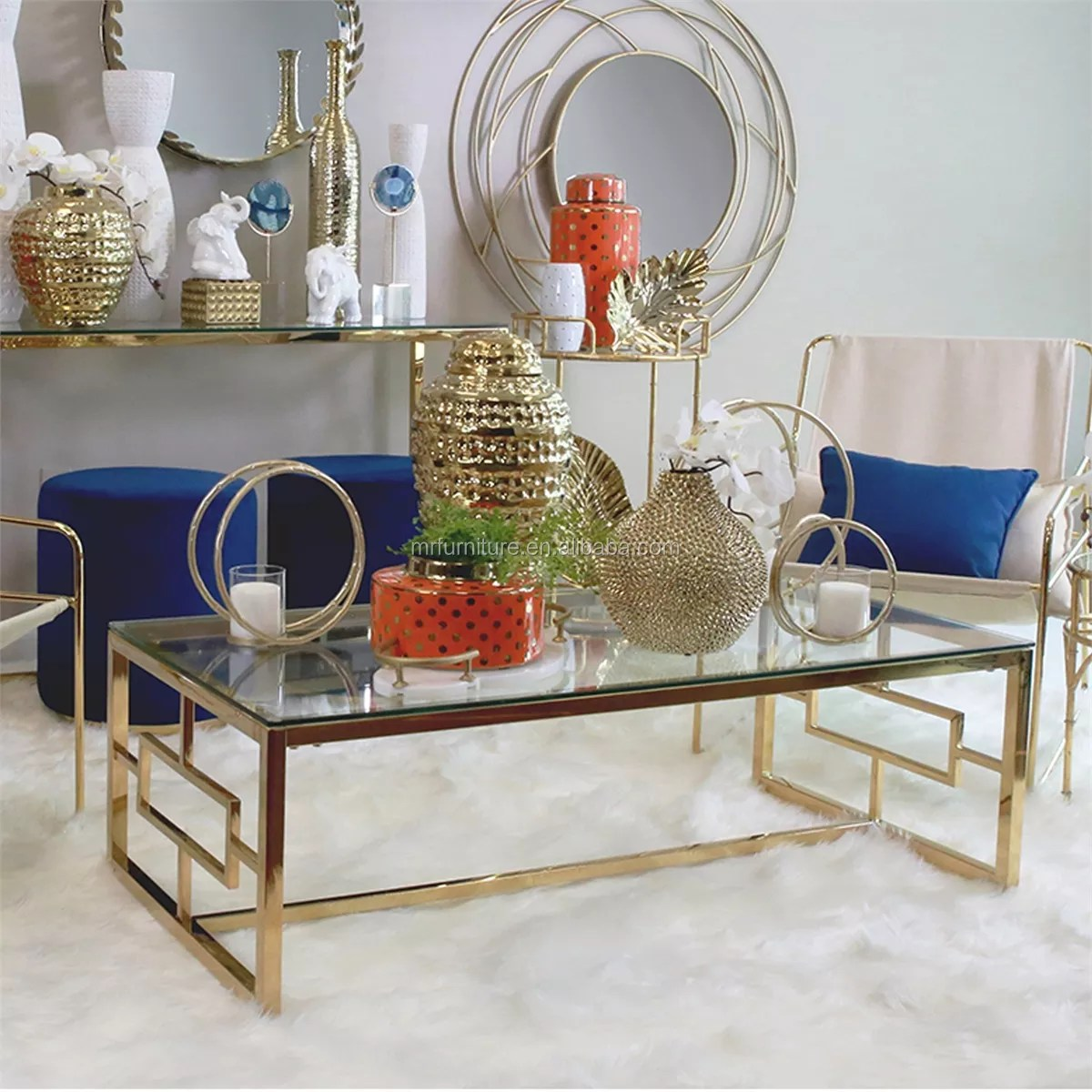 glass stainless steel coffee table in gold buy glass gold coffee table gold frame coffee table stainless steel glass cocktail table product on