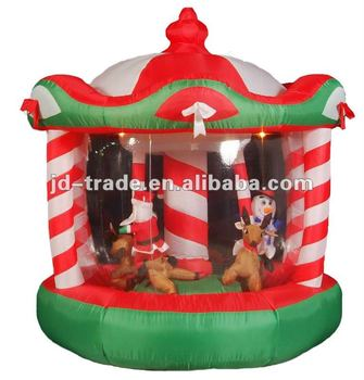 Inflatable Christmas Rotating Horse Merry Go Round