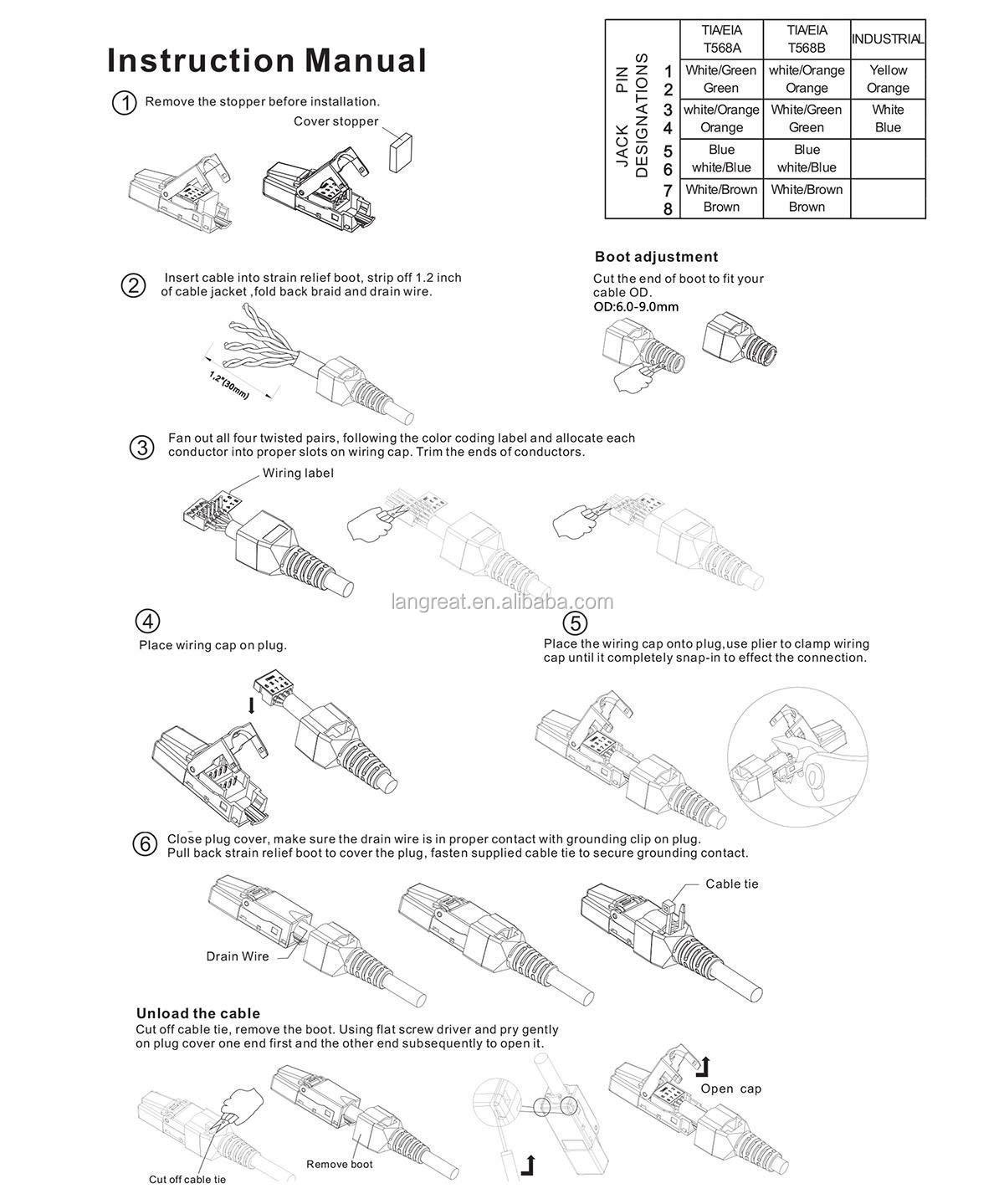 Cat6a Tool Minder Rj45 Ethernet Plug Afgeschermde Rj45