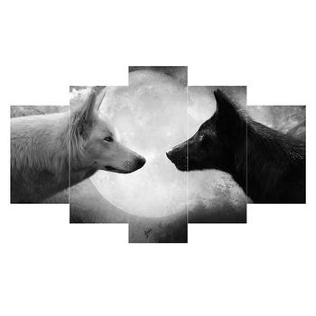 Hd Cetak 5 Pcs Serigala Lukisan Kanvas Wall Art Hitam Putih Gambar