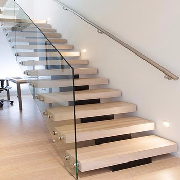 Modern Mono Stringer Glass Staircase Wooden Staircase Tempered | Modern Staircase Glass Railing Designs | Commercial Building | Glass Panel Wooden Handrail | Side Glass Rail | Glass Stair | Modern Aluminium