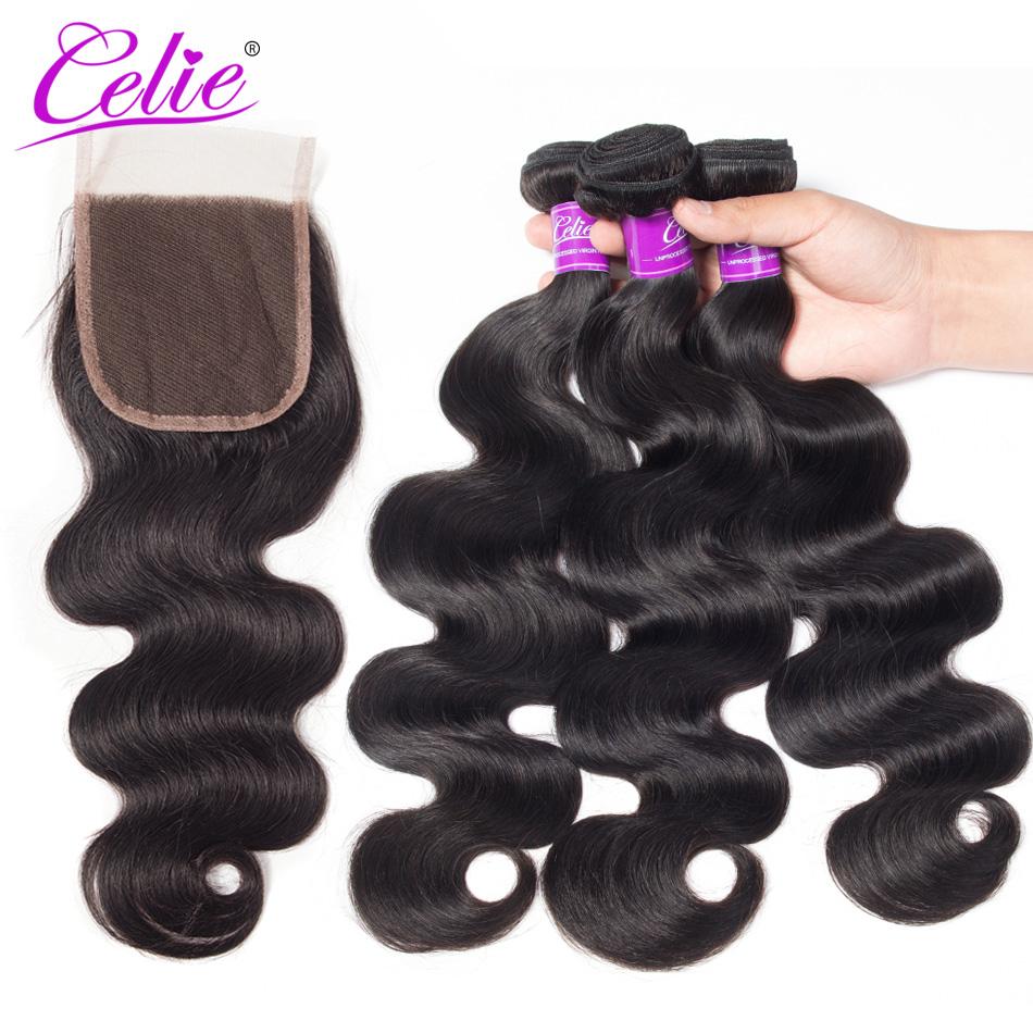 HTB1RRf2ceLM8KJjSZFqq6y7.FXag Celie Hair Body Wave Bundles With Closure Brazilian Hair Weave 3 Bundles With Lace Closure Remy Human Hair Bundles With Closure