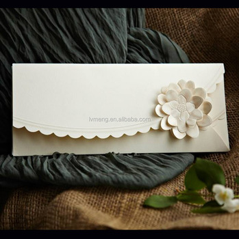 Handmade Arabic Style Royal Wedding Invitation Card With Flowers Envelopes Cards In