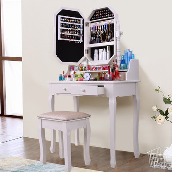 Solid Wood Modern Vanity Cosmetic Dressing Table Cabinet Mirror Makeup Desk With 2 Drawers Mirror Table And Stool Buy Vanity Desk Makeup Desk With Mirror Vanity Makeup Table Product On Alibaba Com