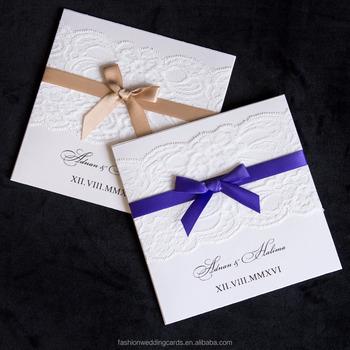 Undangan Pernikahan Renda Kustom Pita Sederhana Elegan Elegan Buy