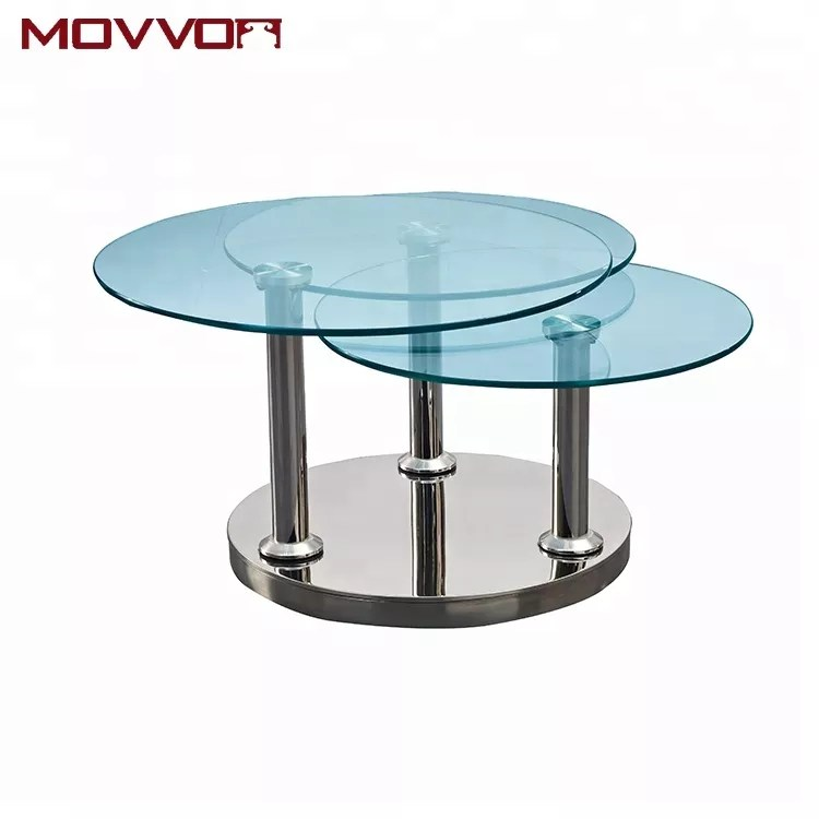 12mm swivel 3 in 1 round tempered glass rotating coffee table with stainless steel base buy coffee table glass coffee table stainless steel coffee
