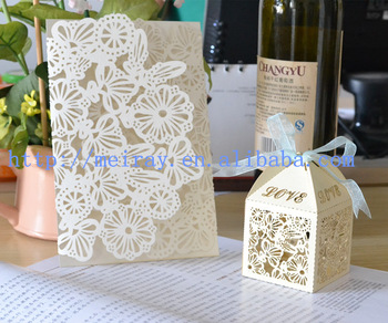 China Whole Wedding Favor Lace Flower Laser Cut Invitation Cards And Cupcake Bo