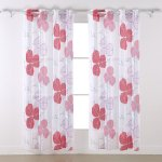 Buy Deconovo Sheer Linen Curtains Sheer Floral Curtains Clover Sheer Print Curtain Panels Curtians Sets And Drapes For Dining Room 52 X 84 Red 1 Pair In Cheap Price On Alibaba Com