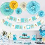 Boy Baby Shower Decorations Sets Blue Includes Glittering Letter Banner Paper Fans Duck Dot Crown Footprint Kids Party Supplies Buy Kids Party