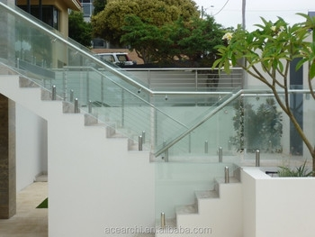 Easy Install Handrails For Outdoor Steps With Tempered Glass Panel | Handrails For Concrete Steps Lowes | Vinyl | Double Wide | Portable | Century Concrete | Interior