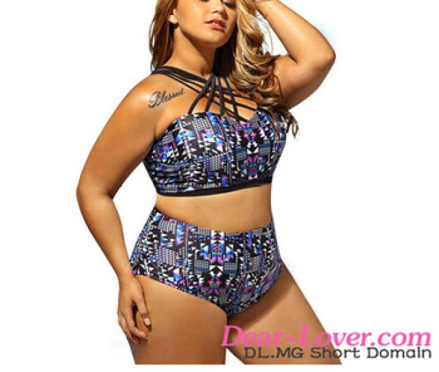 Big Girls Swimming Party Hot Sexy Strappy High Neck Printed Plus Size Swimsuit