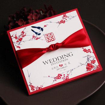 Wedding Invitation Card Red Ribbon