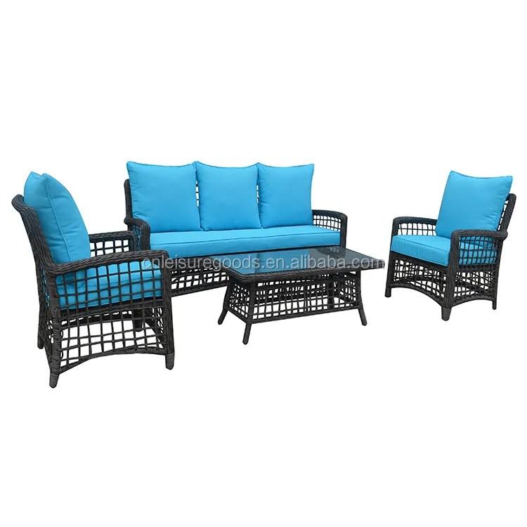 4pcs set rattan patio furniture with blue cushion buy outdoor patio seating garden patio 6 piece set garden line patio furniture product on