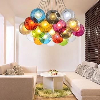 N Multi Colored Glass Ball Chandelier Pendant Light