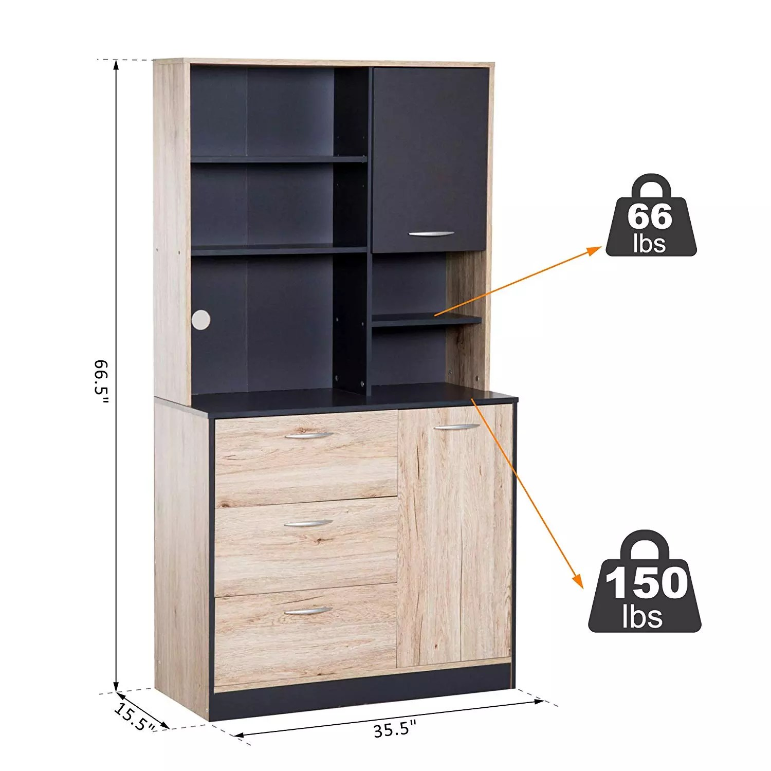 e1 grade engineered wood modern freestanding kitchen buffet cabinet design with microwave storage hutch black and oak buy kitchen cabinet