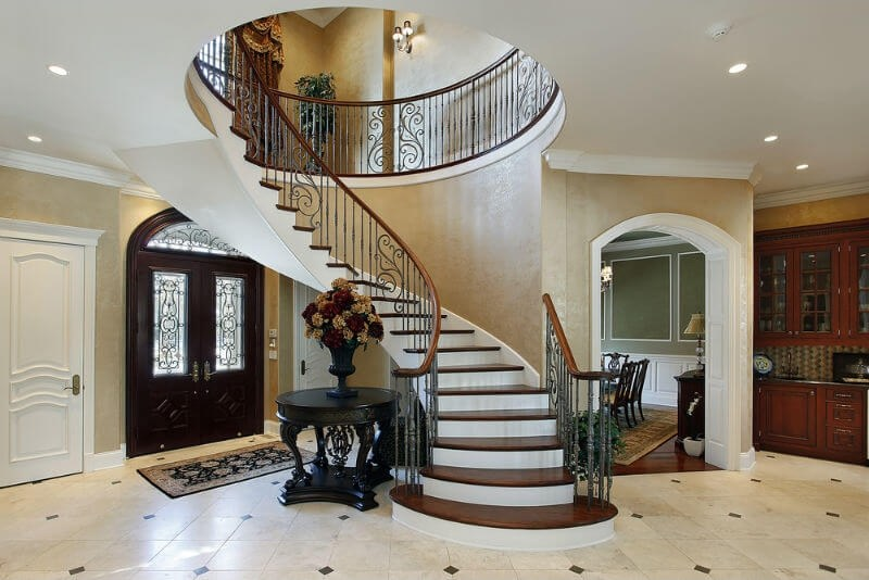 Arc Curved Stairs With Metal Railing And Thick Wood Stair Tread | Thick Wood Stair Treads | Solid Weathered | Baby Blue White Stair | Custom | Prefinished | Glue Laminated