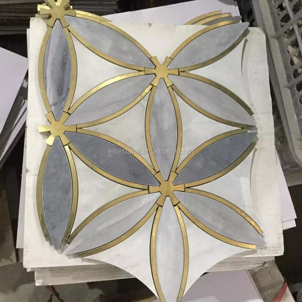 water jet marble floor tile with brass inlay mosaic pattern buy water jet marble floor tile marble floor tile with brass brass inlay mosaic product