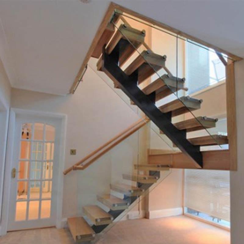 Crystal Glass Balustrade Design Light Stain Oak Handrail And Stair | Split Level Stair Railing | Wrought Iron | Julia | Modern | Easy Diy | Fancy