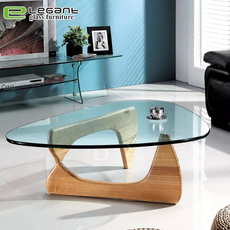 triangle glass coffee table with wood