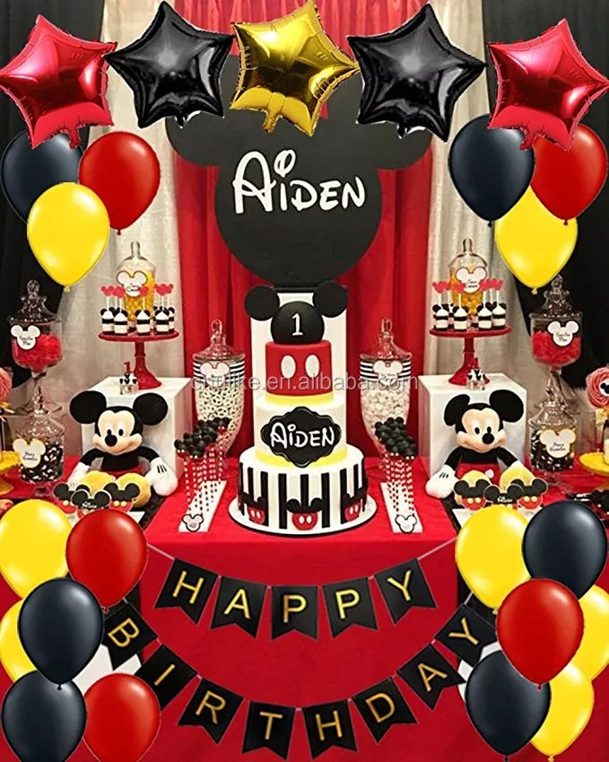 Mickey Mouse Birthday Party Decorations Yellow Red Black Baby Shower Minnie Mouse Party Supplies Set Happy Birthday Banner Buy Mickey Mouse Clubhouse Party Supplies Minnie Mouse Toys Party Favor Bags Product On Alibaba Com