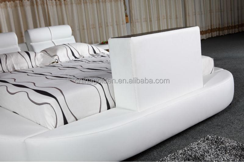 g1031 foshan fabricant de meubles lit king size en cuir avec tv pied de lit