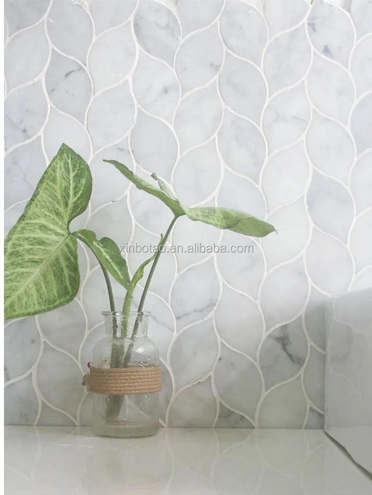 leaf bianco carrara white carrera marble mosaic wall tile backsplash for kitchen buy leaf mosaic leaf mosaic leaf mosaic product on alibaba com