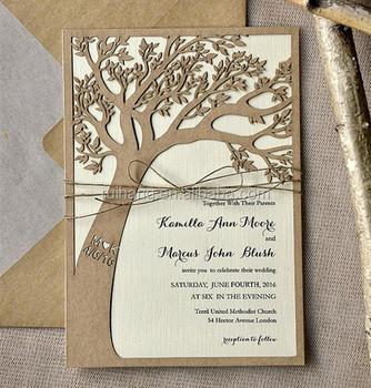 Eco Chic Custom Listing Rustic Laser Cut Tree Wedding Invitations In Kraft Pape Muslim Invitation Card
