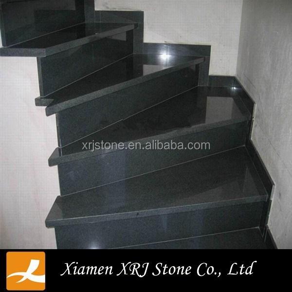 Interior Black Granite Stone Stairs Design With Quartz Stair Tread | Black Granite Staircase Designs | Marble | Polished Granite | Floor Stair Circular | Kota Stone Staircase | Jet Black
