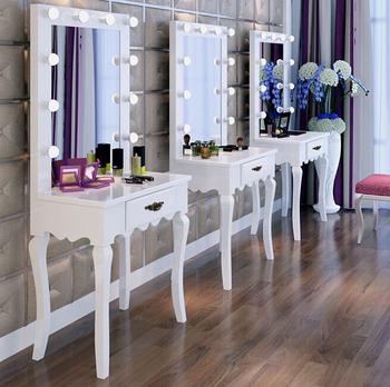 pieds galbes blanc vintage en bois coiffeuse avec miroir pleine longueur et ampoules rondes