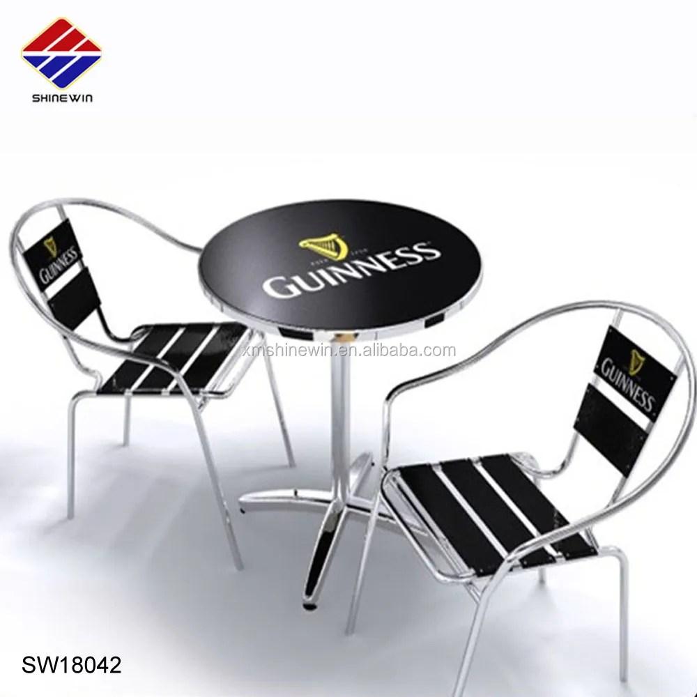 table et chaise de bistrot en aluminium chrome chaise d exterieur avec logo de marque personnalise pour biere cafe restaurant patio utilisation