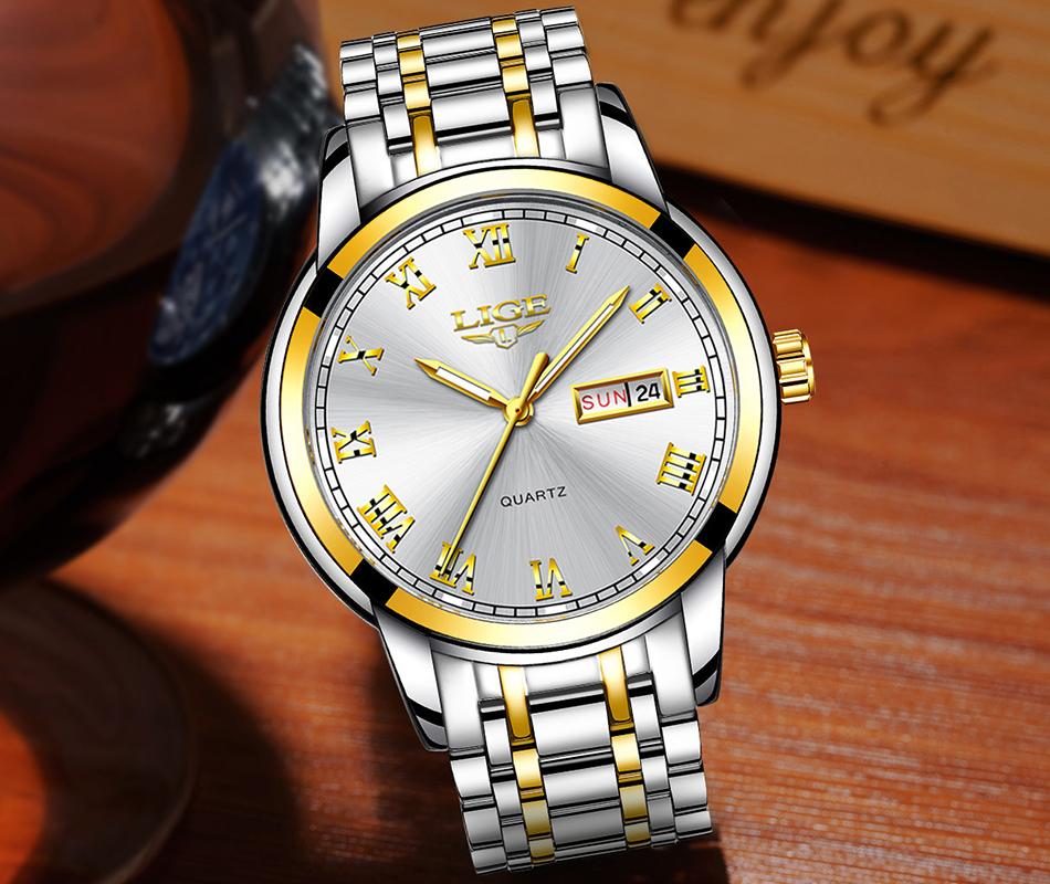HTB1lfLef3vD8KJjy0Flq6ygBFXa4 LIGE Watch Men Fashion Sports Quartz Full Steel Gold Business Mens Watches Top Brand Luxury Waterproof Watch Relogio Masculino