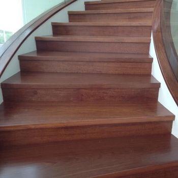 Personal Custom Full Set Indonesian Merbau Solid Wood Stair Tread | Solid Wood Stair Treads | Stairway | Commercial | Standard Length 48 | Domestic Timber Stair | Stainless Steel Anti Slip Stair