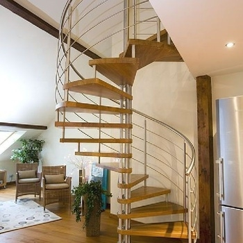 Living Room Design Interior Spiral Wood Staircase For Residential | Staircase Inside Living Room | Kitchen Stair | Apartment | Inside Lounge | Staircase Tv | Private Home