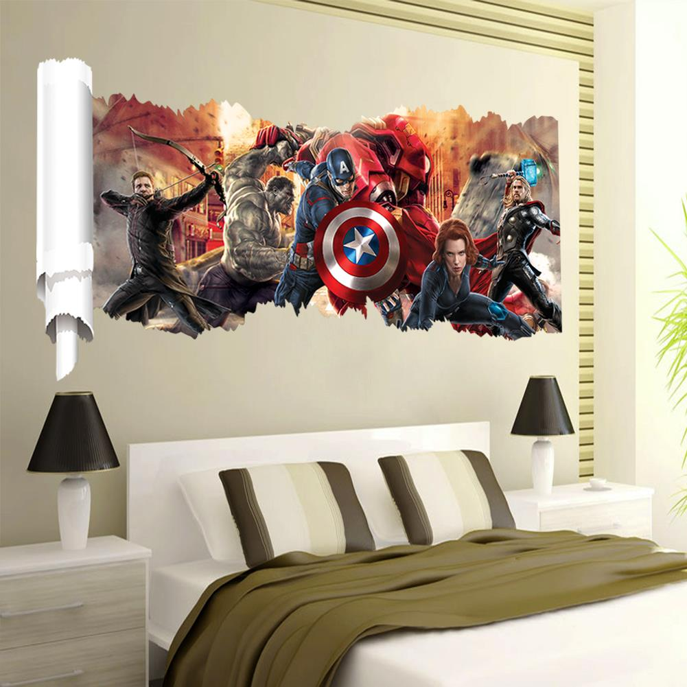3d Marvel S Avengers Movie Through Wall Stickers For Kids Room Wall Decals Children S Bedroom 3d Decor Decals Stickers Vinyl Art Hospitalitybiocleaners Home Garden