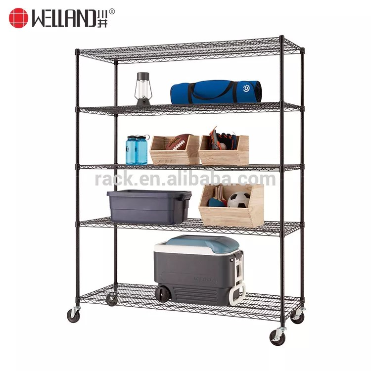 high quality movable 5 tiers garage wire shelf metal shelving unit heavy duty rack with wheels buy shelf metal metal display rack metal storage rack
