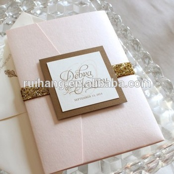 Peach Glitter Pocket Fold Wedding Invitations Cards With Lining Envelope